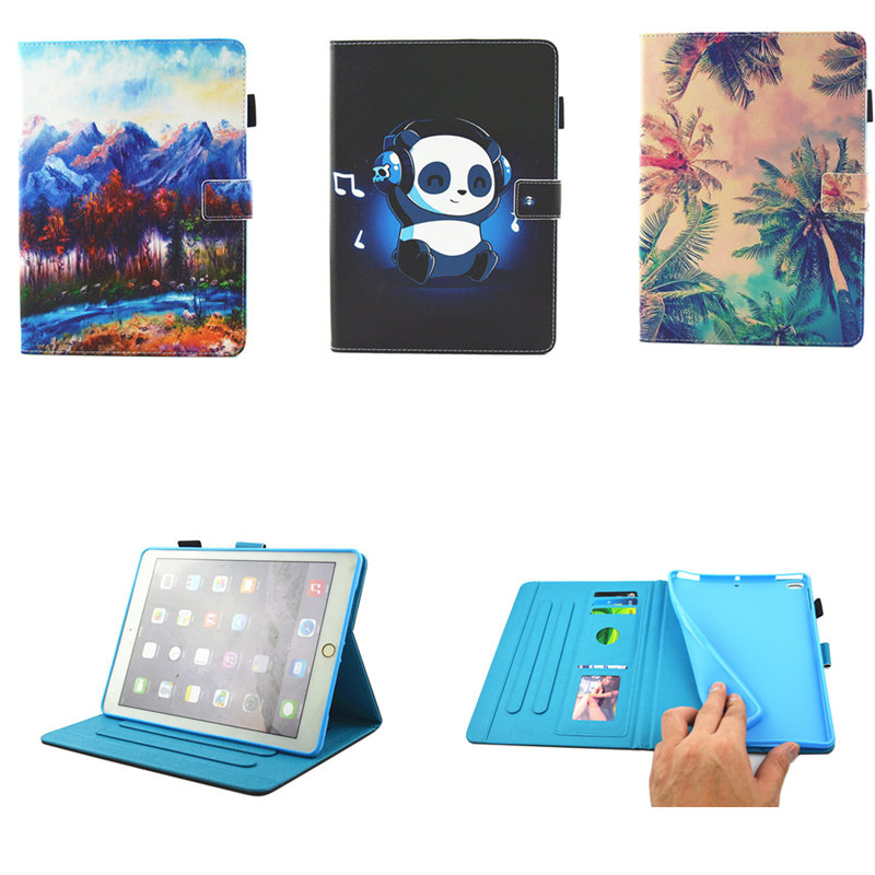 Fashion Painting Silicone PU Leather Flip Smart Case For Apple iPad Air 1 2 Cover Funda capa  For New iPad 9.7 inch 2017 Release apple apple silicone case