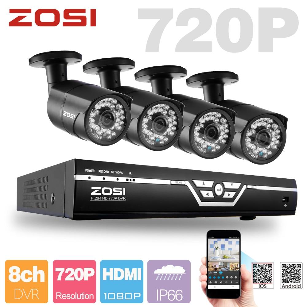 Zosi 8ch Cctv System 720p Ahd Cctv Dvr 4pcs 1 0 Mp 720p Ir