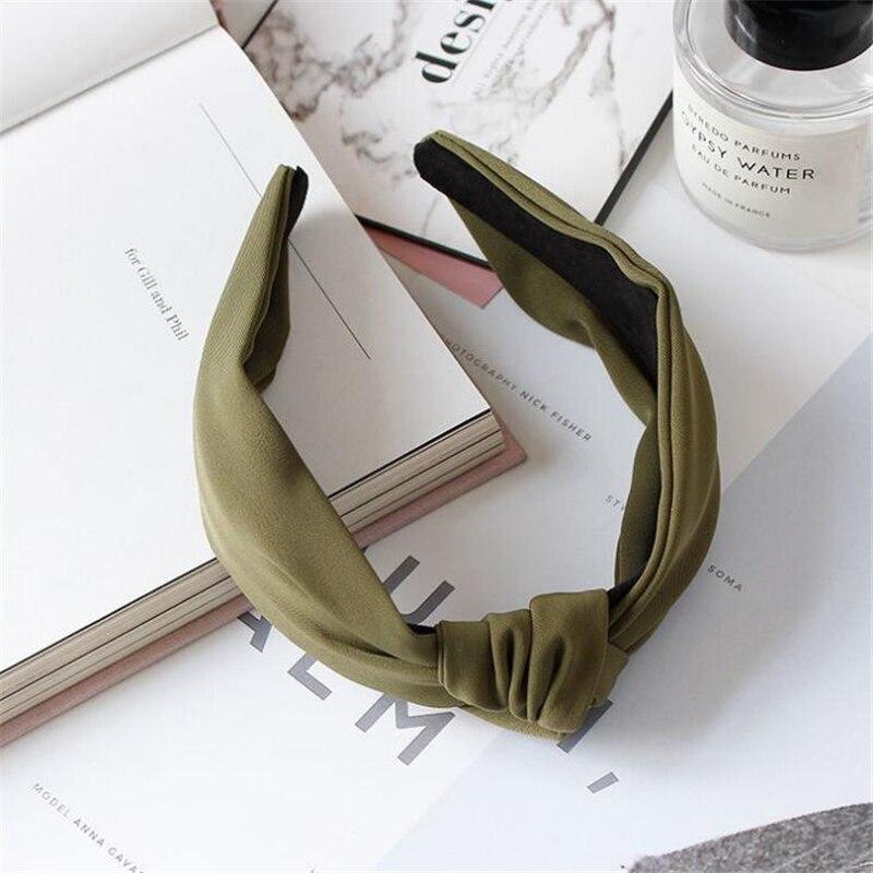 1 pc femmes lunette mode Style coréen bandeau femme filles décontracté élégant tissu croix couleur uni cheveux accessoires chapeaux 14
