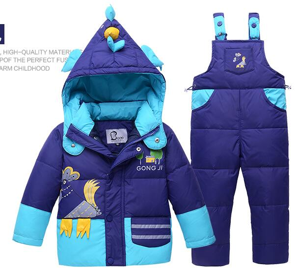 2016 Children winter duck jacket and pants suit sets baby boys inverno thick coat+jumpsuit set girls down clothes kids outerwear goose baby duck parka thick kids padded coat outerwear doudoune reima double side jersey baby clothes down jacket 70z013