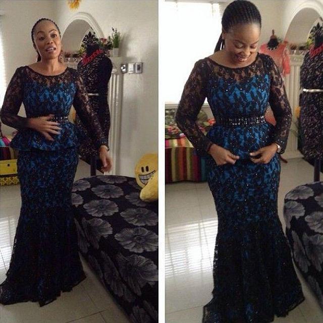 Mangas compridas Mãe dos Vestidos de Noiva 2016 de Renda Preta Vestidos de Noite Estilo Nigeriano Africano Renda Prom Dresses