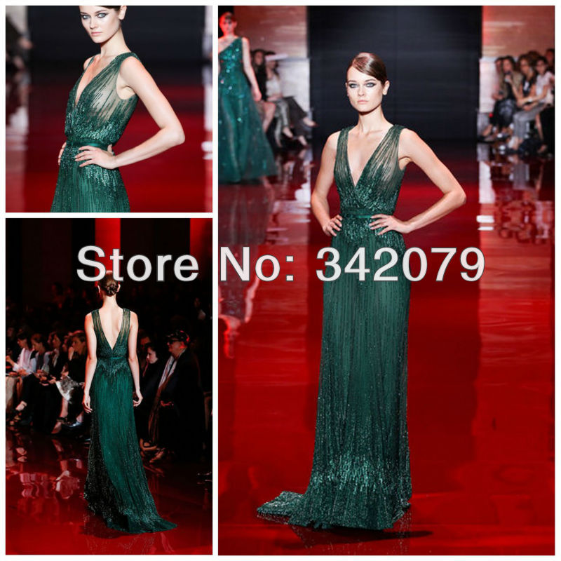 Ph03419 Emerald Green Fully Embroidered V Neck Draped Bodice Long