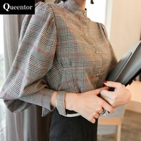 Original Plaid Shirt Female 2017 Long Sleeve Korean Vintage Lantern Sleeve Stand Autumn Shirts Women Wholesale
