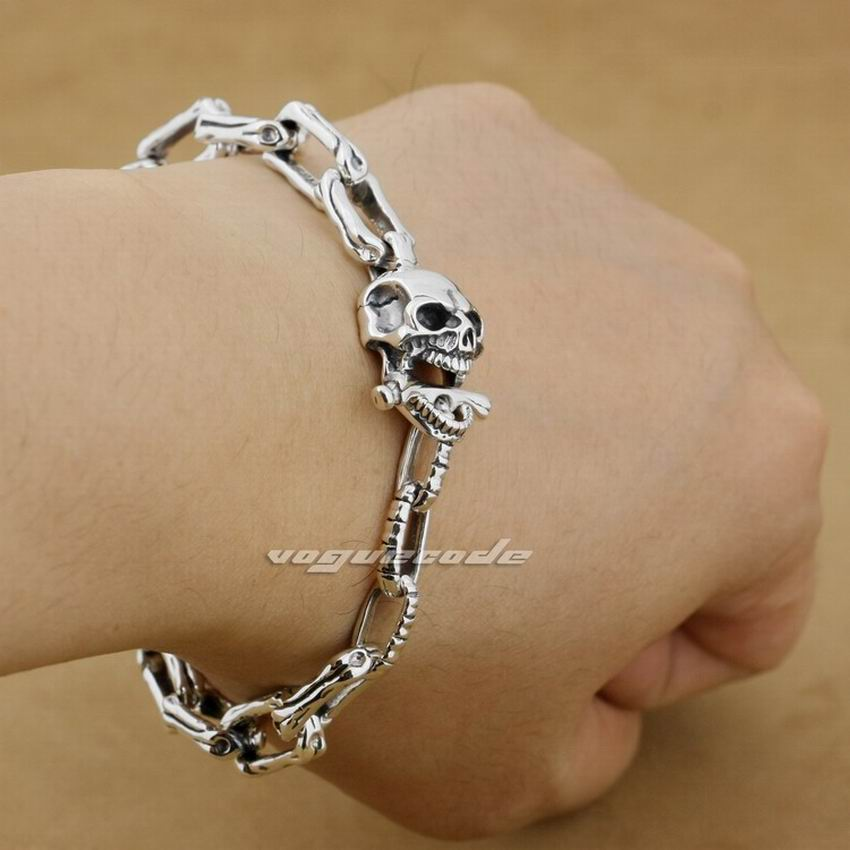 925 Sterling Silver 5 Lengths Handmade Skull Bone Mens Biker Bracelet 8W008