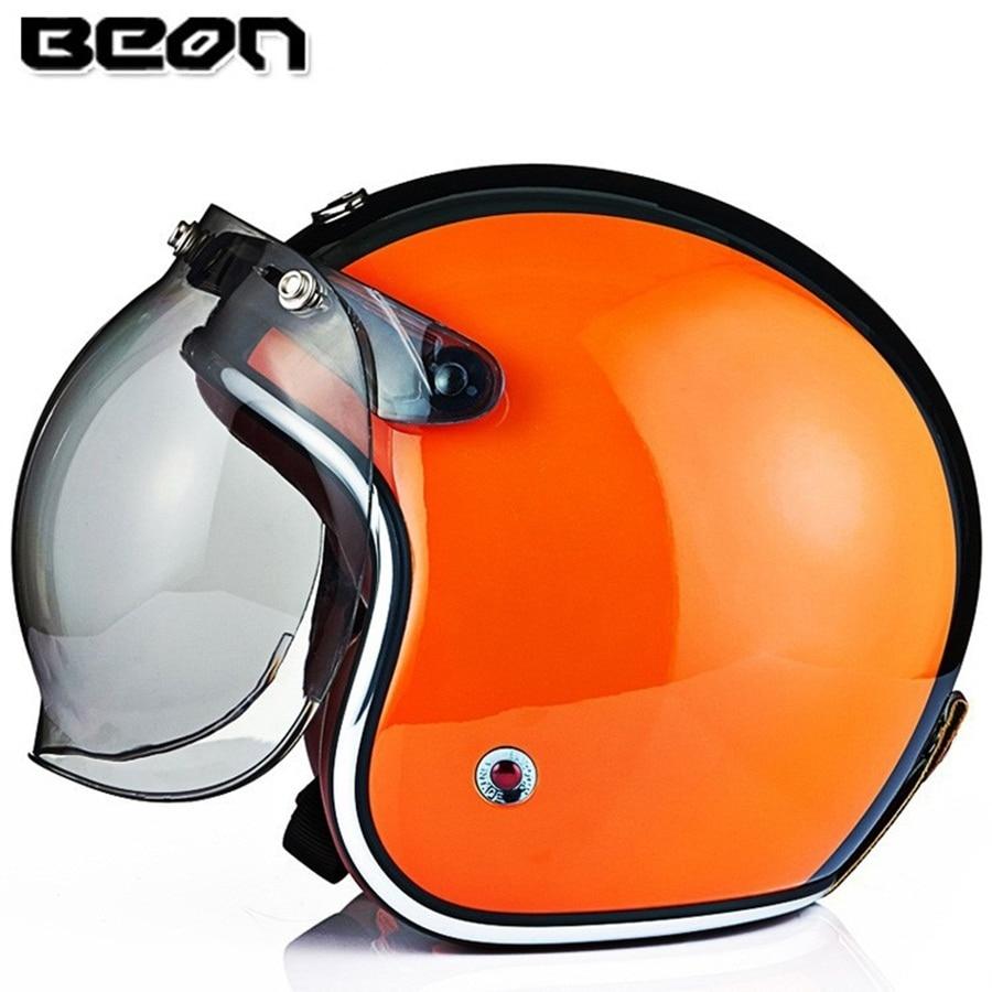 Livraison gratuite 1 pièces 3/4 Face ouverte Vintage casques en fibre de verre Flip Up bulle lentille rétro Scooter Protection de la tête moto casques