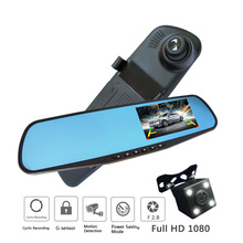 waterproof dual lens rearview mirror right display car font b camera b font auto cars dvr