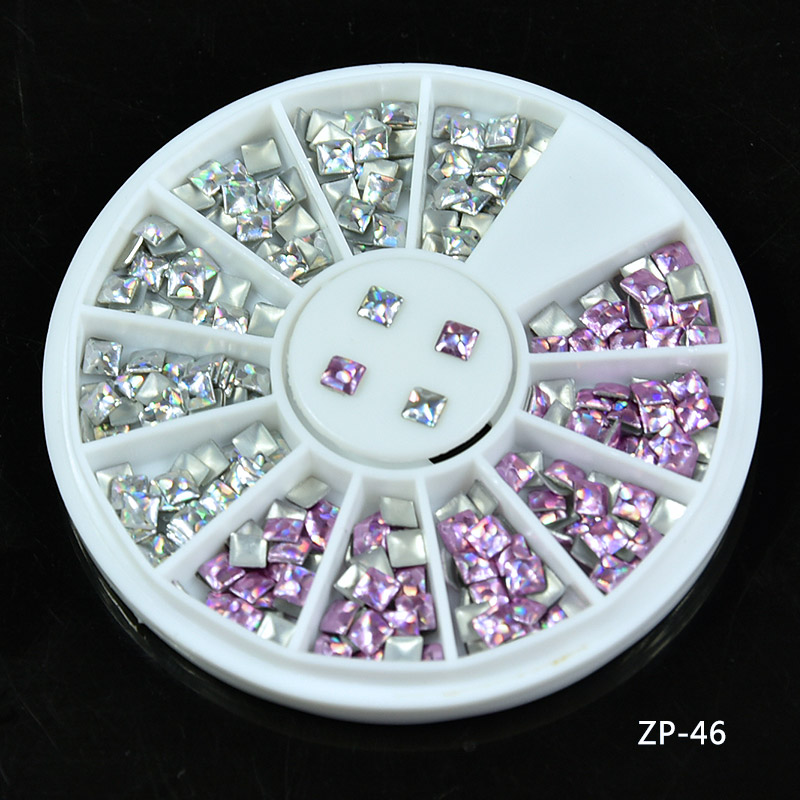 1Box NEW 2017 new Laser Pink Silver 1wheel Rivet Nail Studs 3*3mm Square Rhinestone Manicure Nail Art Decoration, L44-IO141441 1 box rivet laser 3d nail decoration 4mm square nail studs manicure nail art decoration wheel