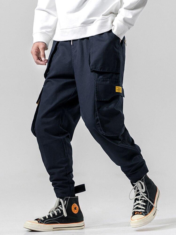 Male Trousers Cargo-Pants Joggers Blue-Pockets Streetwear Black Army-Green Fashion Men