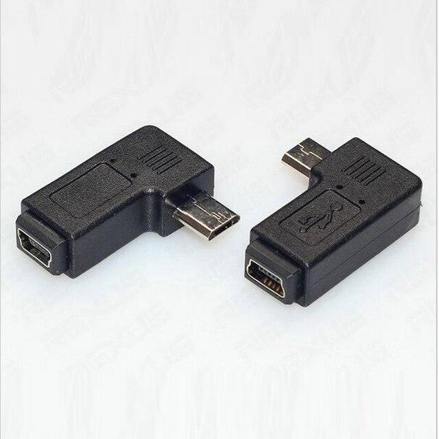 מיקרו usb זכר למיני USB נקבה 90 270 תואר זווית ממיר מחבר נתונים סנכרון מטען מתאם עבור טבליות טלפונים כבל