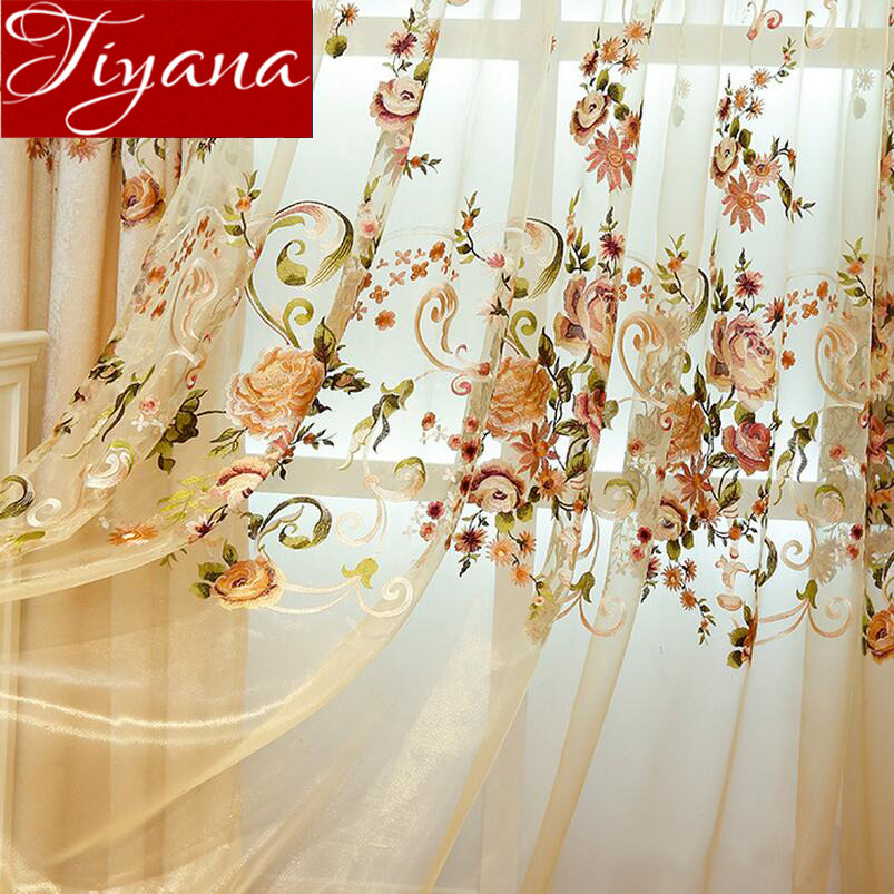 Luxury Europe Chenille Embroidered Floral Curtain Window For Living Room Bedroom Tulle Treatment Drapes Blackout Fabrics X417#30