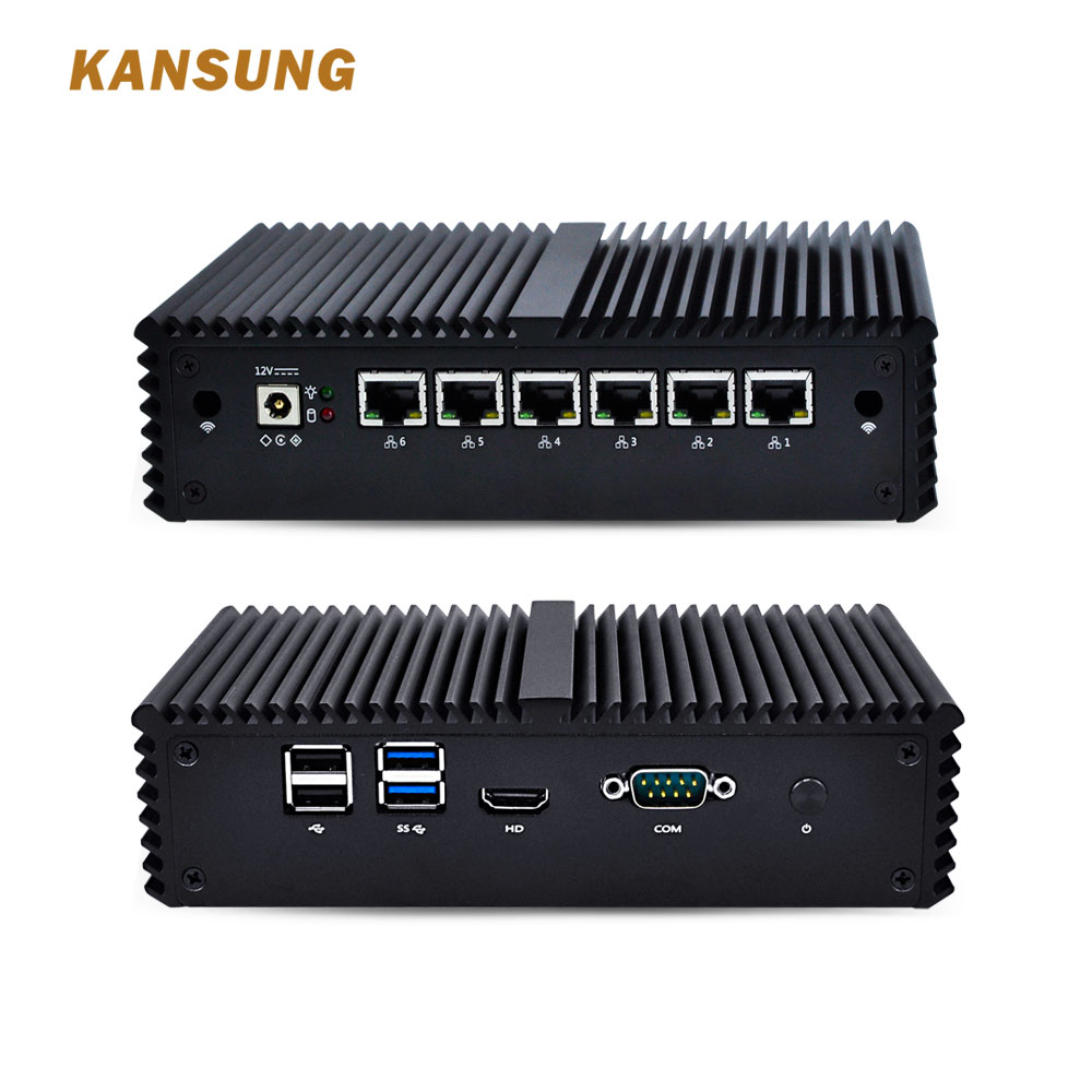 Mini PC With Celeron Core 3865U I3 I5 I7 Fanless AES-NI 6 Gigabit NIC Router Firewall Support Linux Ubuntu Windows 8 Fanless PC