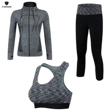 Women 3 Pcs Yoga Sport Suit Compression Fitness Suit Tights Sports Running Sets Top Jacket Bra Leggings Sporstwear Gym Clothes