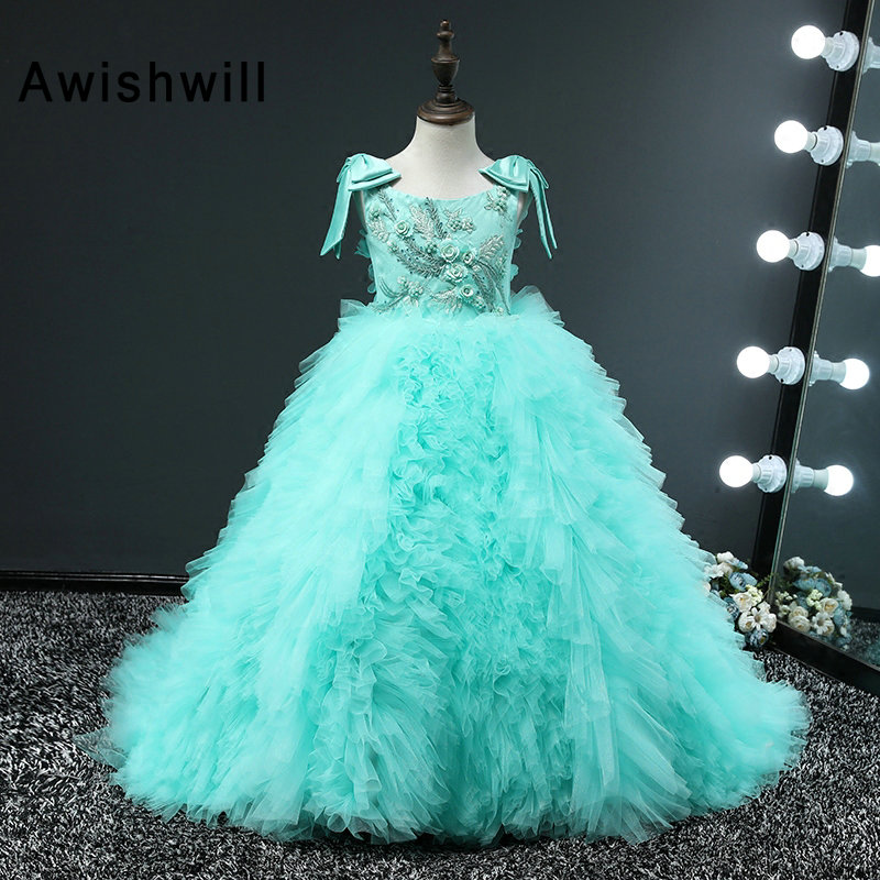 New Turquoise Color Kids Pageant Evening Gowns 2019 Ball Gown   Flower     Girl     Dresses   For Weddings First Communion   Dresses   For   Girls