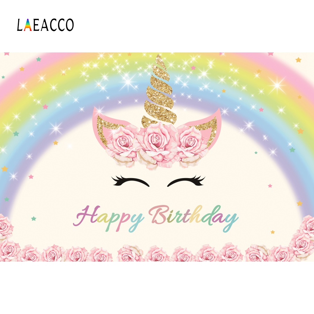 Laeacco Unicorn Party Flower Portrait Scene Baby Photography Backgrounds Customized Photographic Backdrops For Photo Studio