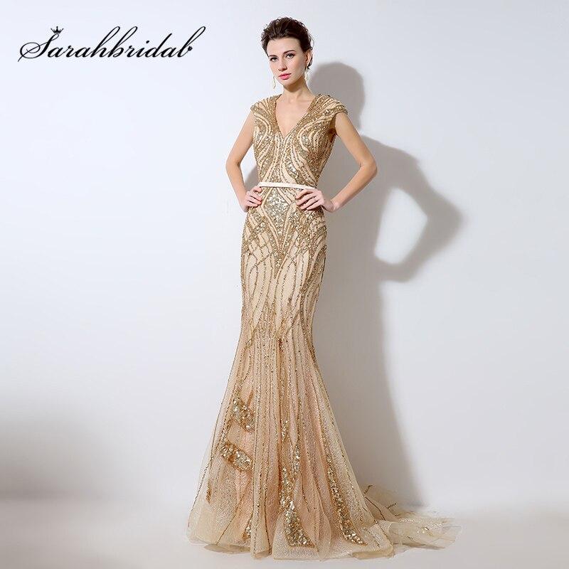 Glitter Sequin Golden   Evening     Dresses   2018 Cap Sleeve Mermaid Formal   Dress   Champagne Long Pageant Gown Abendkleider Abiye LX053