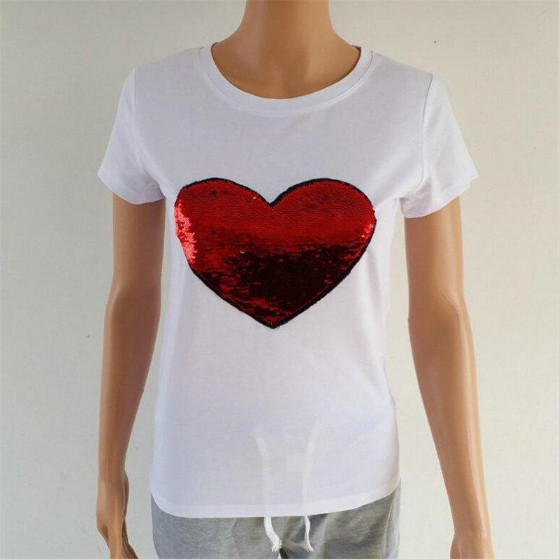 a545cc9a2e94 Cuore rosso di modo di paillettes top t camicia delle donne vestiti di  cotone manica corta