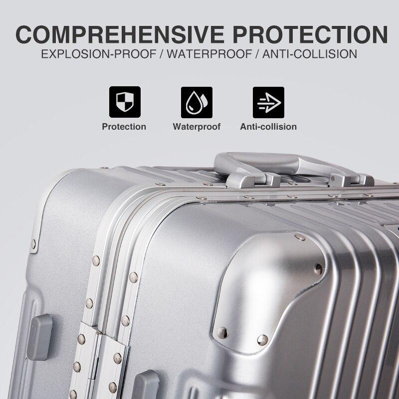 Hanke cadre en alliage d'aluminium bagages boîtier de chariot hommes valise femmes Spinner roues roulant bagage PC Shell 20 24 28 pouces H9939 - 4