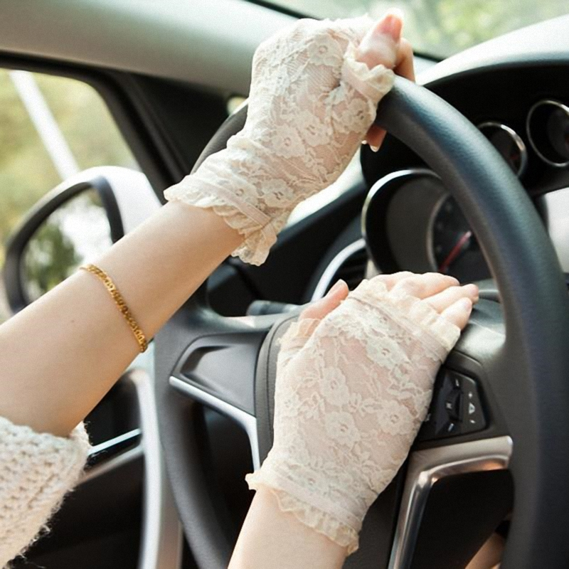 New Women New Summer Sun UV Protection Ladies Short Gloves Lace Driving Gloves Formal Gloves G002-beige