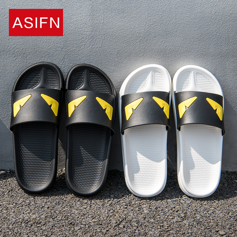 ASIFN Men Beach Slippers Massage Flip Flops Male Slides Devil Eyes Summer Women Cartoon Two Different Soles Chanclas Hombre