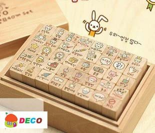 Cute cat and rabbit wooden stamp gift set Cartoon stamps school DIY zakka kawaii stationery school supplies(ss-1507)