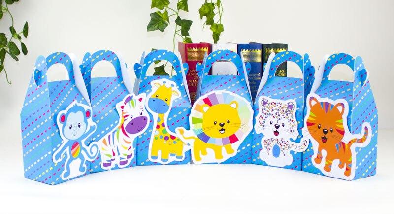 Радуга животных пользу конфеты коробка Подарочная коробка кекс поле Мальчик Дети День рождения поставляет украшения событие для вечеринок