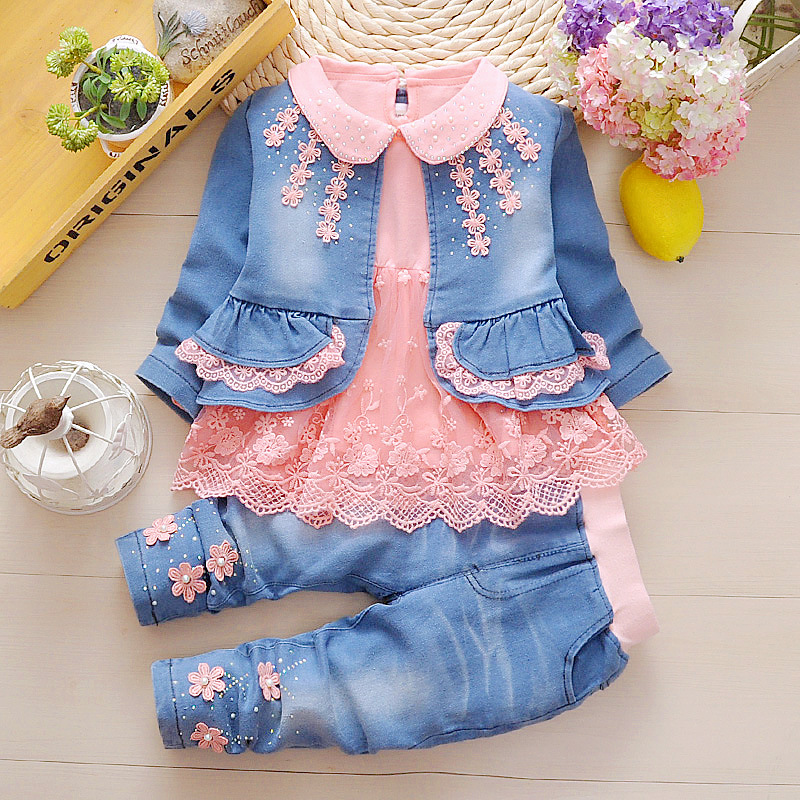 Anlencool Fashion hot sale baby girls set 0-2 years girl jeans spring three-piece Lace edge 2018 baby girl cowboy leisure suit