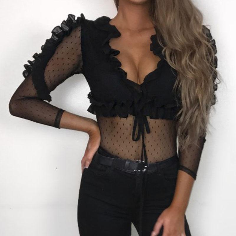 41b551d39ee Fashion Women Lace Flower Transparent T shirt Ladies Long Sleeve ...