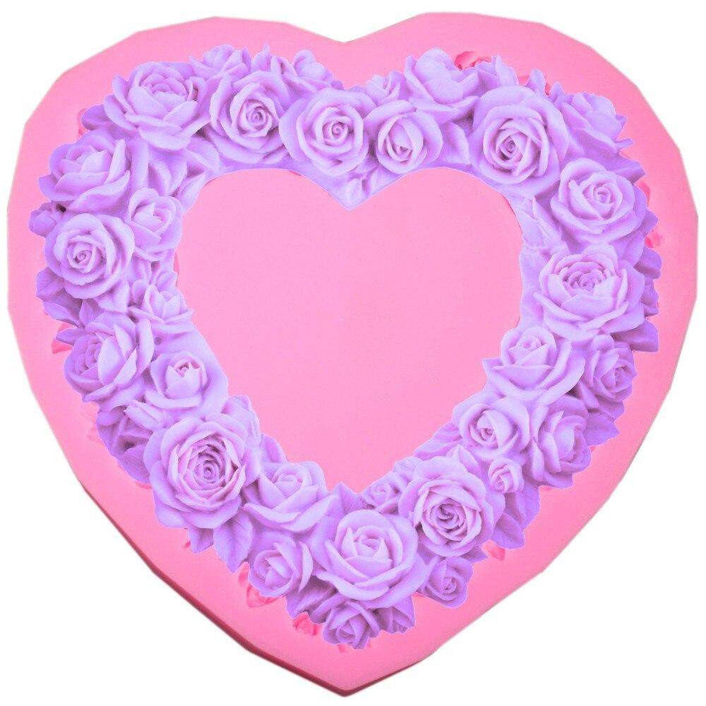 Ecológico de gran tamaño Corazón Rose Flower Molde de pastel de - Cocina, comedor y bar - foto 2