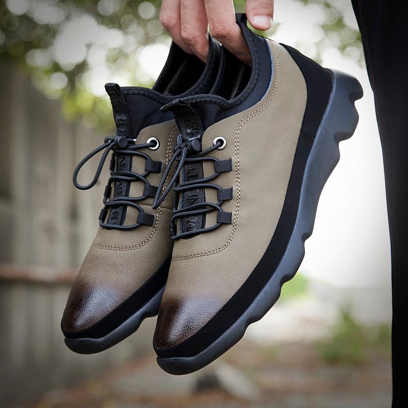 Khaki Homem Couro Homens Sapatos Primavera amp; 38 Casual 44 Tamanho Sapatilhas Para Dos Sapato Outono Black Água D' Preto Masculinos Prova De À khaki Elástico YxYOvp