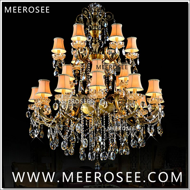 Large 3 Tiers 24 Arms Crystal Chandelier Light Fixture Antique Brass Luxurious Crystal Lustre Lamp MD8504 L24 D1150mm H1400mmLarge 3 Tiers 24 Arms Crystal Chandelier Light Fixture Antique Brass Luxurious Crystal Lustre Lamp MD8504 L24 D1150mm H1400mm