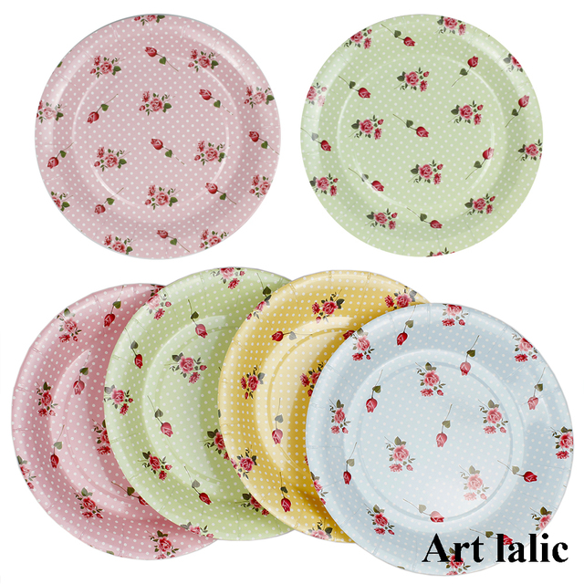 Colorful Rose Flower Paper Plates For Valentine Birthday Wedding Party Disposable Tableware Supplies Cp068