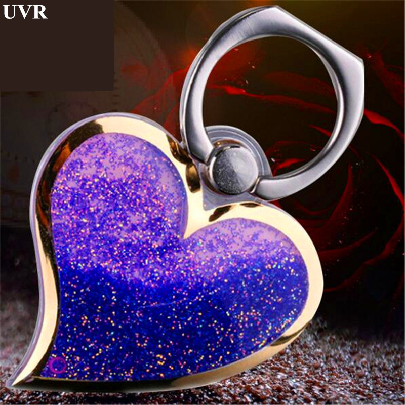 Liquid Heart Luminous Quicksand Finger Ring Smartphone Stand Holder Mobile Phone Holder Stand For IPhone IPad Xiaomi All Phone