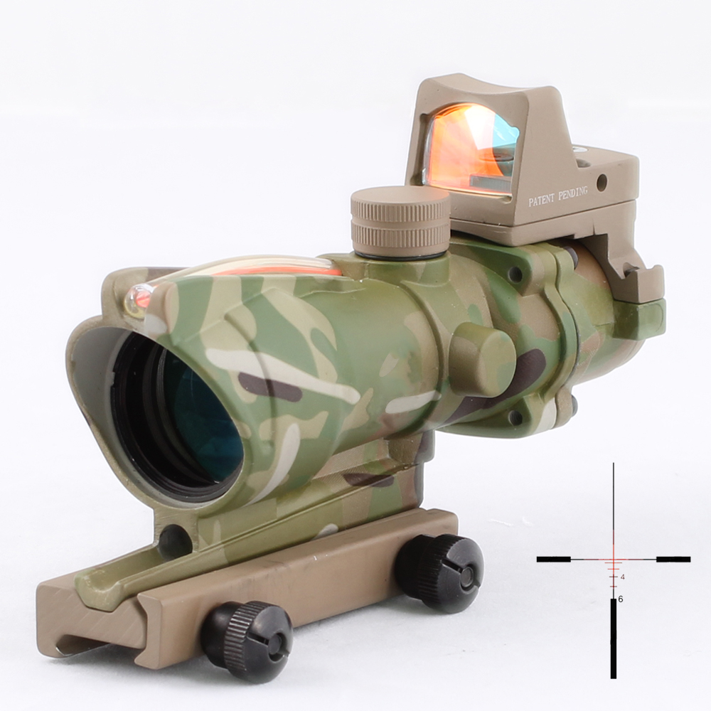 SPINA OPTICS  ACOG 4x32  Red Fiber Red Illuminated optics Scope with RMR mini Red Dot CP ColorSPINA OPTICS  ACOG 4x32  Red Fiber Red Illuminated optics Scope with RMR mini Red Dot CP Color