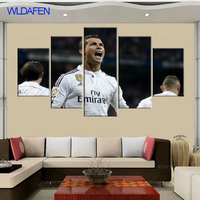 5 Panel Real C Ronaldo Madrid Canvas Printed Painting For Living Picture Wall Art HD Decor