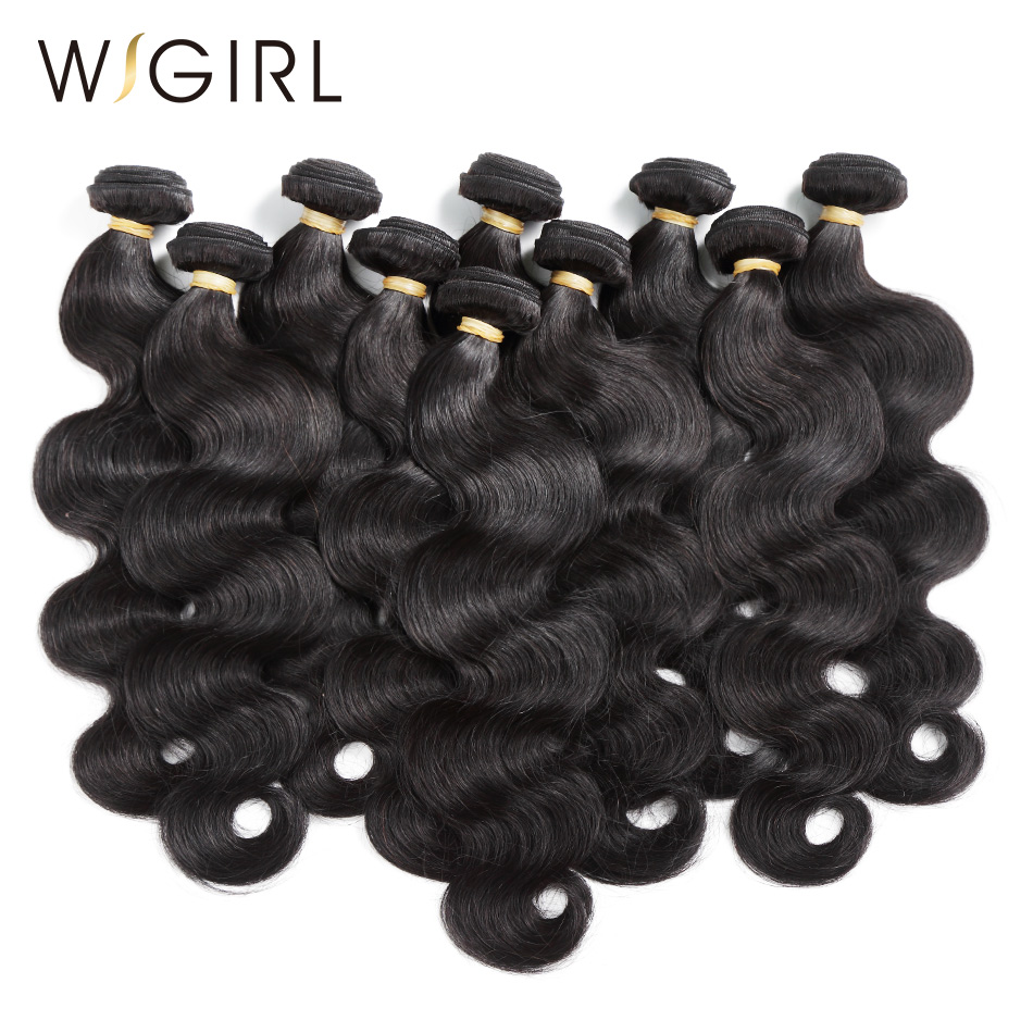 Wigirl Hair Body Wave 10Pcs Lot 8 28 inches Brazilian Remy Hair Weave Bundles Wholesale Hair