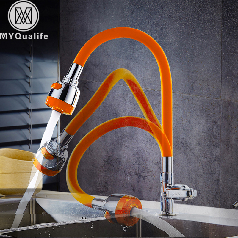 Silica Gel Kitchen Faucet Any Direction Rotating Cold Water Tap Single Handle Orange Chrome Color Torneira Cozinha