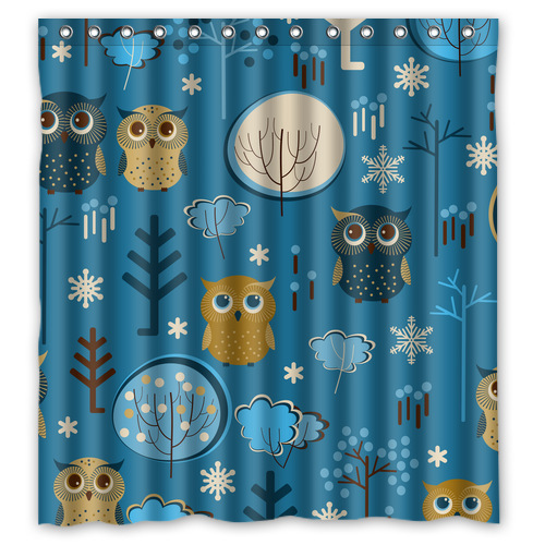 Blue Owl Custom Shower Curtain Bathroom Decor Free Shipping 36x72 48x72 60x72 66x72