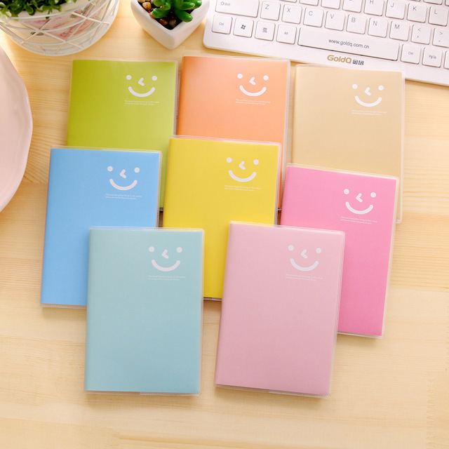 JOUDOO Cute Smeill Print Candy Color Notebook Novelty Soft Cover Mini Daily Memo Notepad Office School