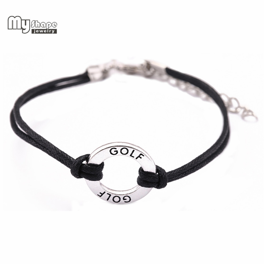 My Shape Adjustable Handmade Bracelets GOLF Affirmation Charm South America Waxed Cord Sport Bracelet Men