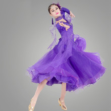 10 colors women big swing Modern dance costumes female sequined purple/blue waltz/tango/foxtrot/quickstep competition dress
