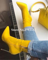 Brand Design Women Fashion Pointed Toe Suede Leather Stiletto Metal Heel Short Boots Red Yellow Thin Heel Ankle Boots