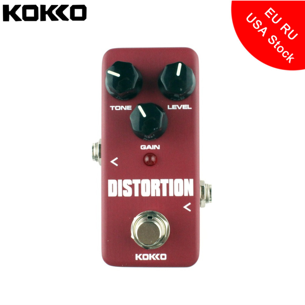 KOKKO FDS2 Mini Aluminum Alloy Distortion Pedal Portable Electric Bass Guitar Ukulele Effect Pedal Guitar Parts & Accessories kokko fbs2 mini guitar effect pedal guitarra booster high power tube electric guitar two segment eq effect device parts