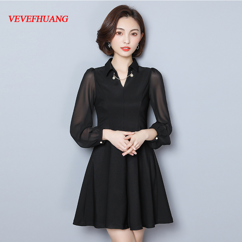 2018 Plus Size 2018 New Spring Women dress Bow Full Sleeve Slim Fat Dresses Black L0804