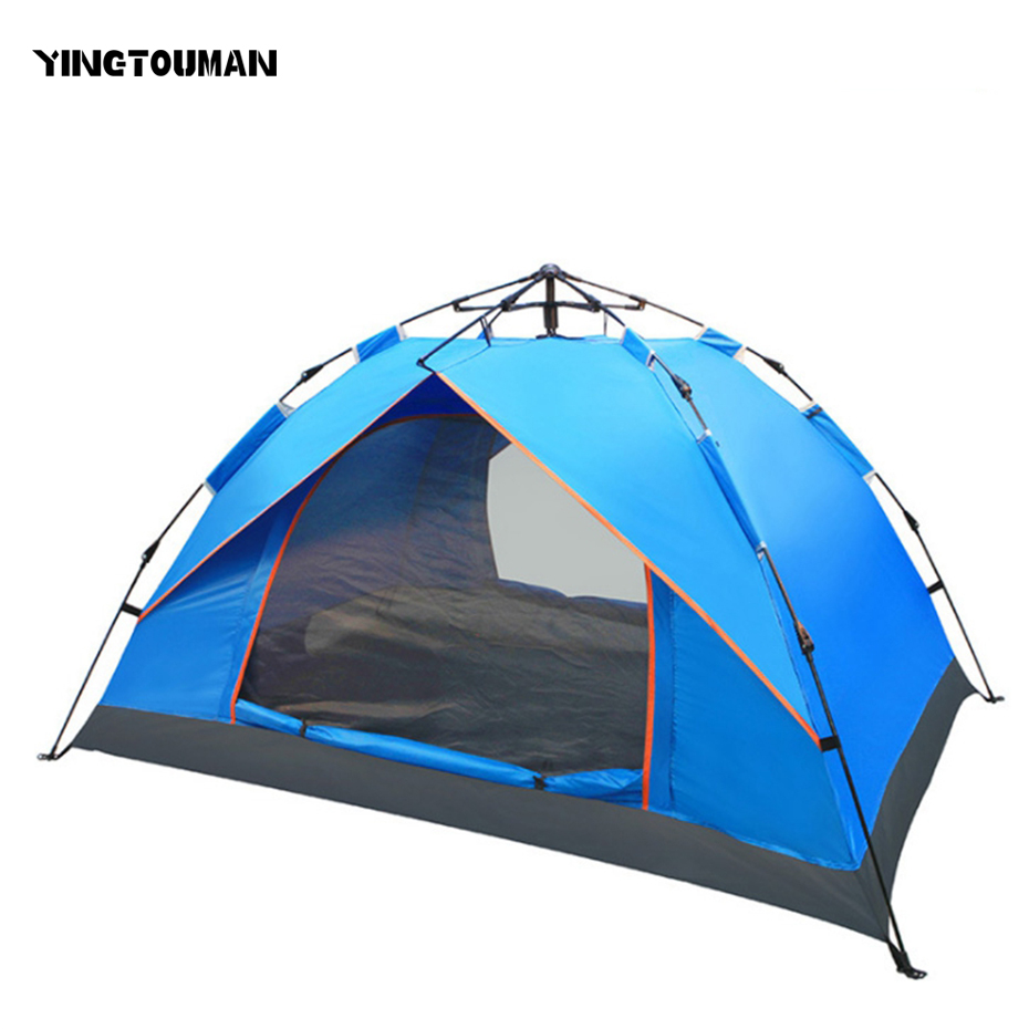 YINGTOUMAN Outdoor 3-4 Person Famliy Big Tent Camping Hiking Tent Camping Accessories Quick Automatic Opening 3 4 person big size tent for outdoor camping large size camping tent 245x245x145cm 4 67kg
