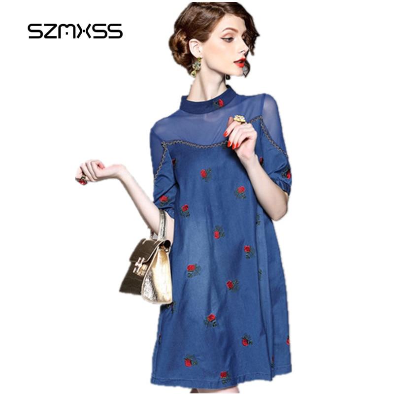 Szmxss jeans vestido 2017 mujeres Denim vestidos sexy perspectiva bordado elegante una línea azul vaquero vestidos 10 unids whosale