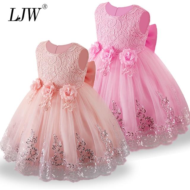 2019 Summer Dress for Children Flower Girls Dress Sleeveless lace Party Wedding Dress Elegent Princess Vestidos