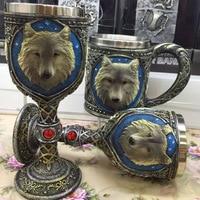 A Stainless Steel Wolf Mug Coffee Mug 3D Stereo Wolf Head Goblet Mug Practical Skeleton Mug