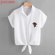 JAYCOSIN 2017 Womens Blouse Ladies Rose Flower Blouses Short Sleeve Shirt Women Shirt L519 Free Shiping