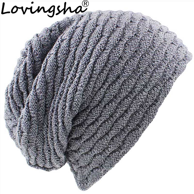 LOVINGSHA Striped Design Men Baggy Knitted Knit Skullies Bonnet Winter Warm Hats For Girl Beanie Women Faux Fur Winter Hat Caps unisex skullies knit men s winter balaclava bonnet women thicken winter hats for men beanie warm baggy knitted hat and scarf