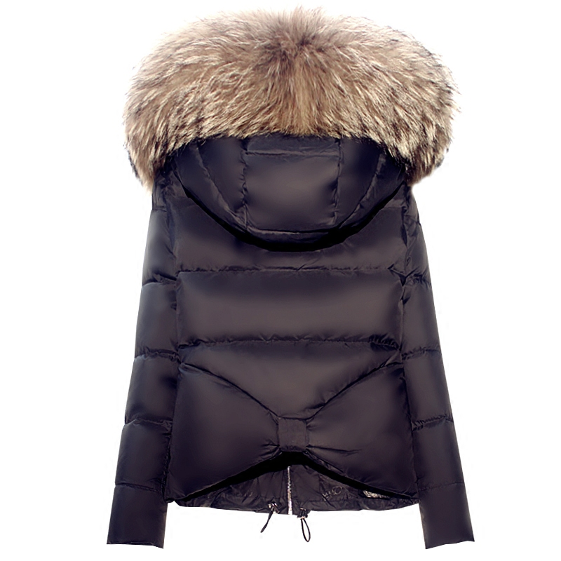 New Winter Fashion Women White Duck Down Jacket Thick Long Sleeve Short Outwear Large Fur Collar Hooded Coat Female Down Parkas 100% white duck down women coat fashion solid hooded fox fur detachable collar winter coats elegant long down coats